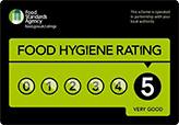 5Star food hygiene rate.